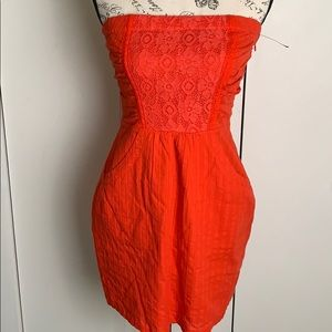 2 b bebe orange mini dress sz S